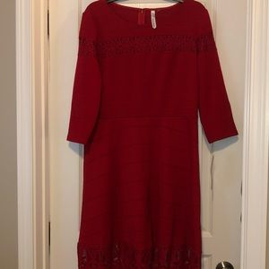 Bright red party dress with lace detail - NWT